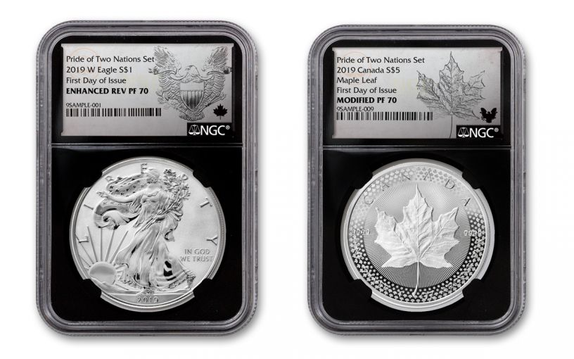 2019 United States & Canada 1-oz Silver Eagle & Maple Leaf Pride of Two Nations NGC PF70 2-Coin Set First Day of Issue w/Black Core and Emblem Labels