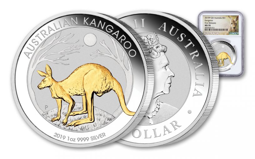 2019 Australia $1 1-oz Silver Kangaroo Gilded Coin NGC MS70 First Releases w/Kangaroo Label