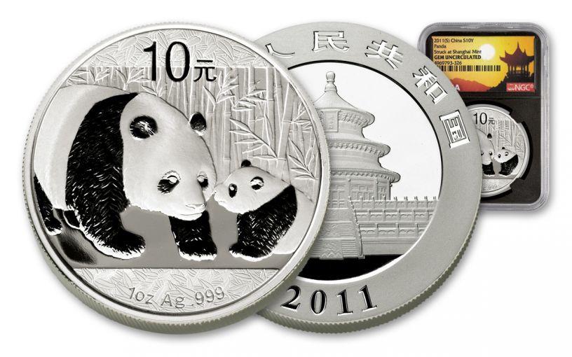 CHINA 2011 1-OZ SILVER PANDA NGC GEM UNC -SHANGHAI