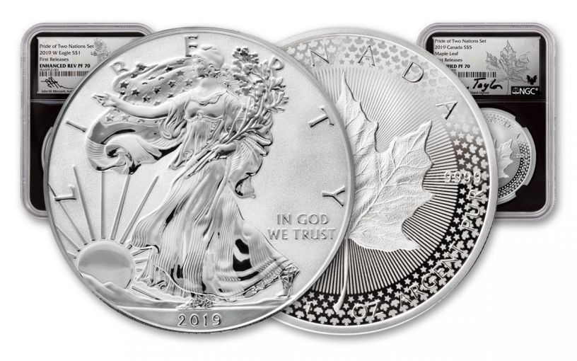 2019 United States & Canada 1-oz Silver Eagle & Maple Leaf Pride of Two Nations NGC PF70-PF70UC 2-Coin Set First Releases w/Black Core, Emblem Labels and Taylor & Mercanti Signatures