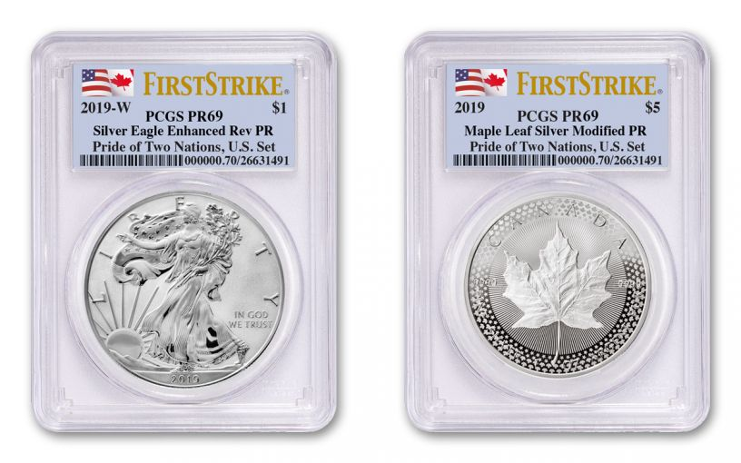 2019 United States & Canada 1-oz Silver Eagle & Maple Leaf Pride of Two Nations PCGS PR69 2-Coin Set First Strikes w/Flag Labels