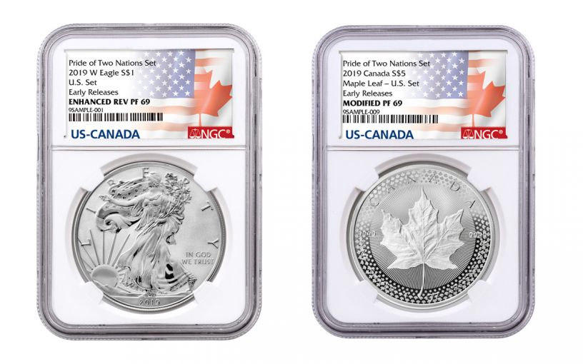 2019 United States & Canada 1-oz Silver Eagle & Maple Leaf Pride of Two Nations NGC PF69 2-Coin Set Early Releases w/P2N Labels