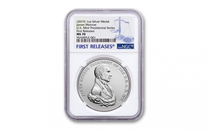 2019 1-oz Silver James Monroe Presidential Medal NGC MS70 First Releases