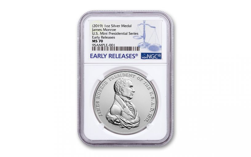 2019 1-oz Silver James Monroe Presidential Medal NGC MS70 Early Releases