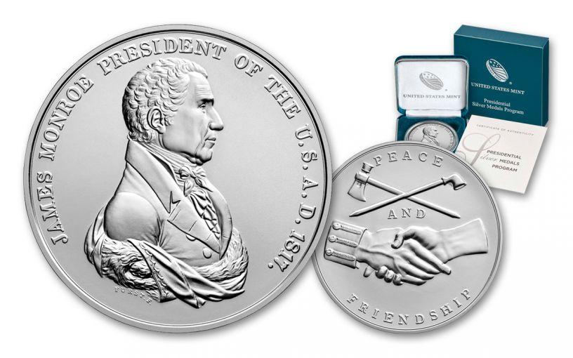 2019 1-oz Silver James Monroe Presidential Medal BU