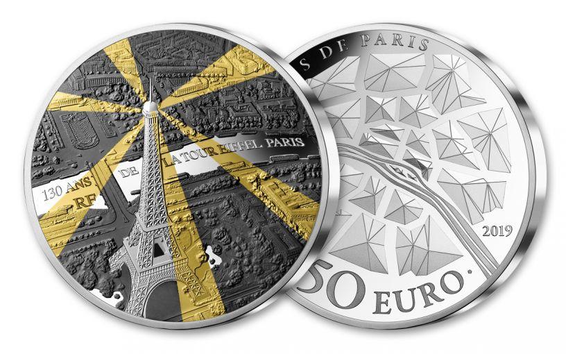 2019 France €50 5-oz Silver Treasures of Paris Eiffel Tower Proof
