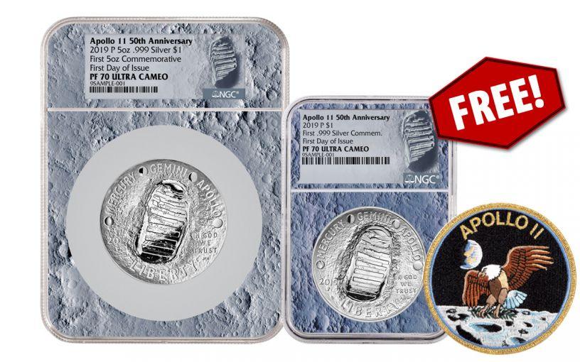 2019-P 5-oz Silver Apollo 11 50th Anniversary Proof NGC PF70 First Day of Issue w/Moon Display Core & Bonus 2019-P Apollo 11 Silver Dollar