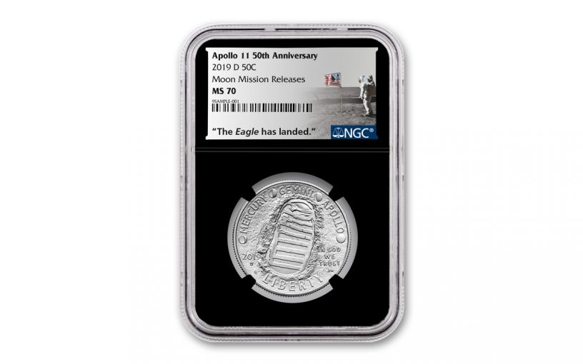 2019-D Apollo 11 50th Anniversary Clad Half Dollar NGC MS70 w/Black Core & Moon Mission Label