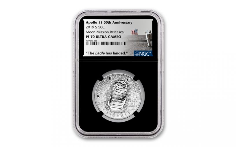 2019-S Apollo 11 50th Anniversary Clad Half Dollar NGC PF70 w/Black Core & Moon Mission Label