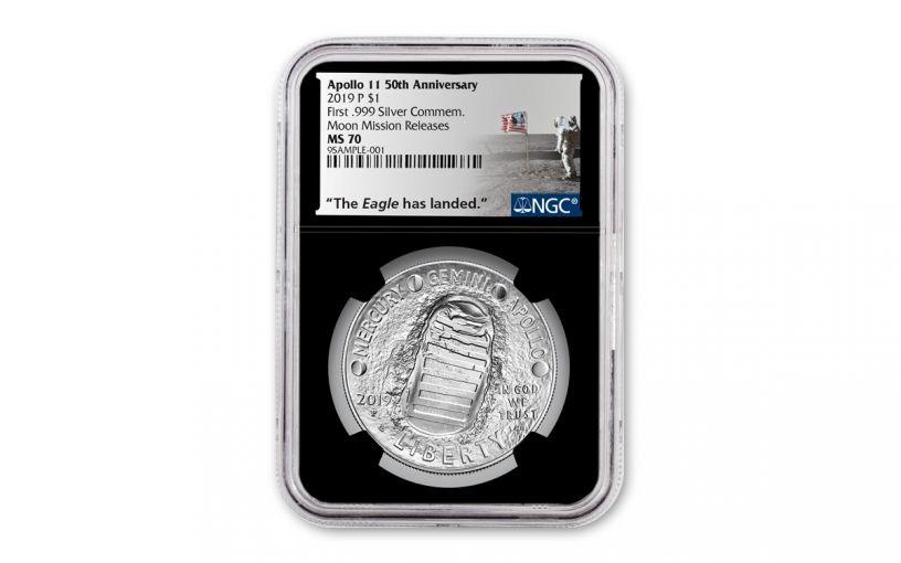 2019-P Apollo 11 50th Anniversary Silver Dollar NGC MS70 w/Black Display Core & Moon Mission Label