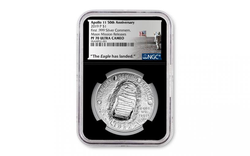 2019-P Apollo 11 50th Anniversary Silver Dollar NGC PF70 w/Black Display Core & Moon Mission Label