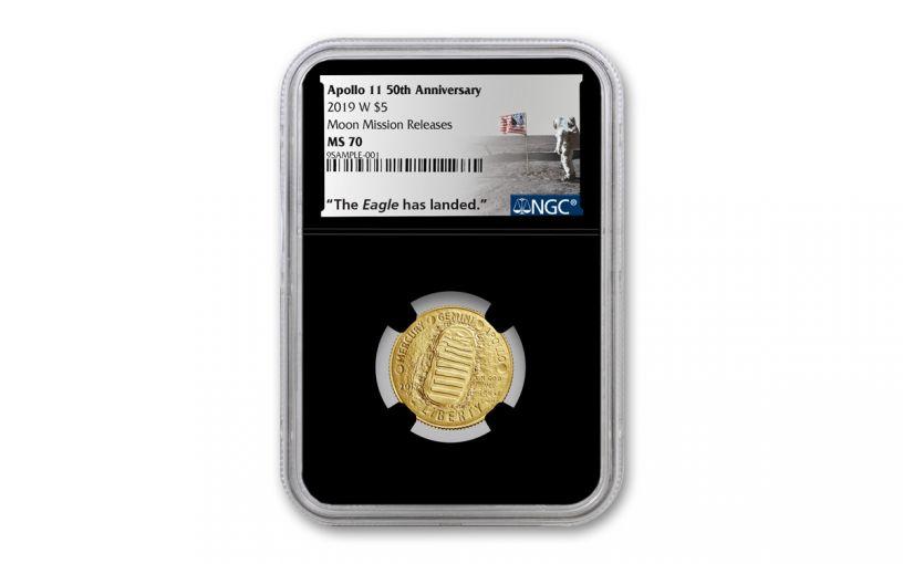 2019-W $5 Gold Apollo 11 50th Anniversary NGC MS70 w/Black Core & Moon Mission Label