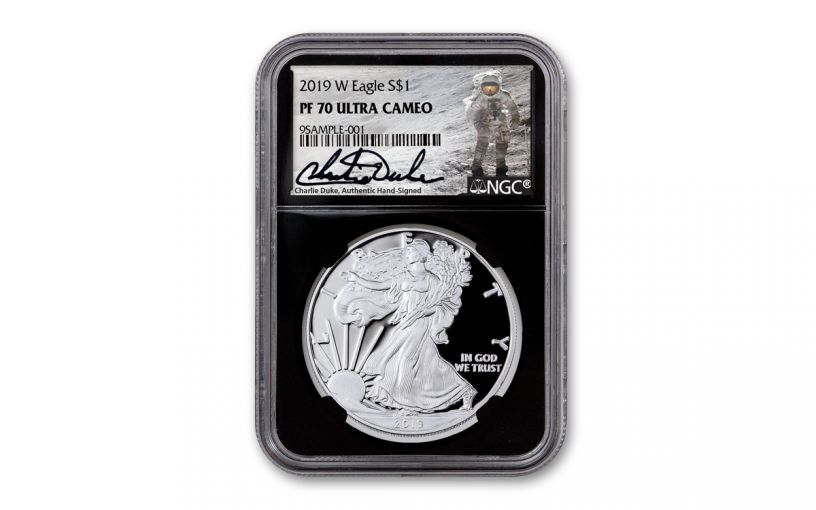 2019-W $1 1-oz American Silver Eagle NGC PF70 w/Black Core & Charlie Duke Signature