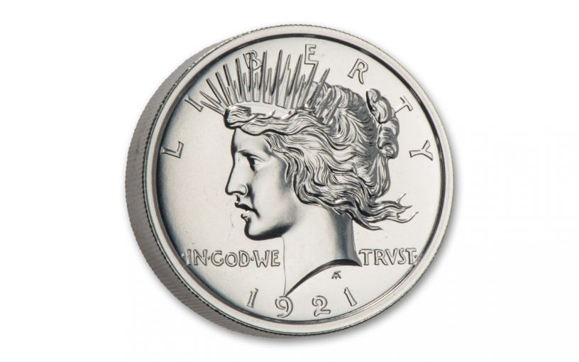 2-oz Silver High Relief Peace Dollar Tribute BU