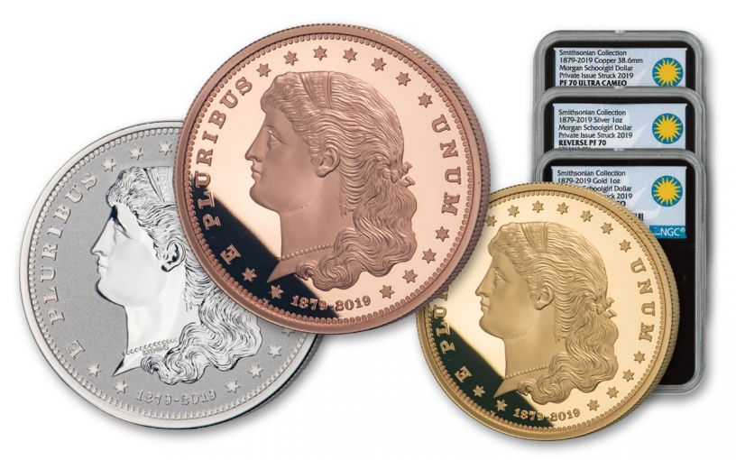 1879–2019 Smithsonian 1-oz Gold/Silver/Copper Morgan Schoolgirl Dollar 3-pc Set NGC PF70UC