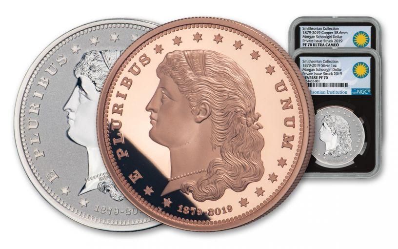 1879–2019 Smithsonian 1-oz Silver & Copper Morgan Schoolgirl Dollar 2-pc Set NGC PF70UC