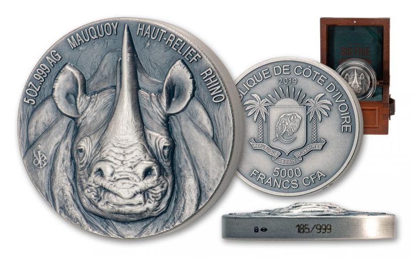 2019 Ivory Coast 5000 Francs 5-oz Silver Rhino Ultra High Relief Antiqued BU