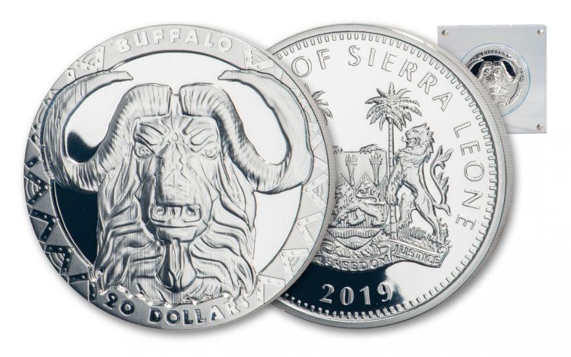 2019 $20 2-oz Silver Sierra Leone Big 5 Cape Buffalo High Relief Proof