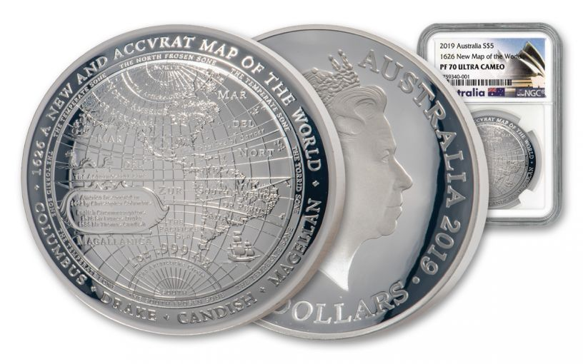 2019 Australia $5 1-oz Silver 1626 Map of the World Domed Proof NGC PF70UC