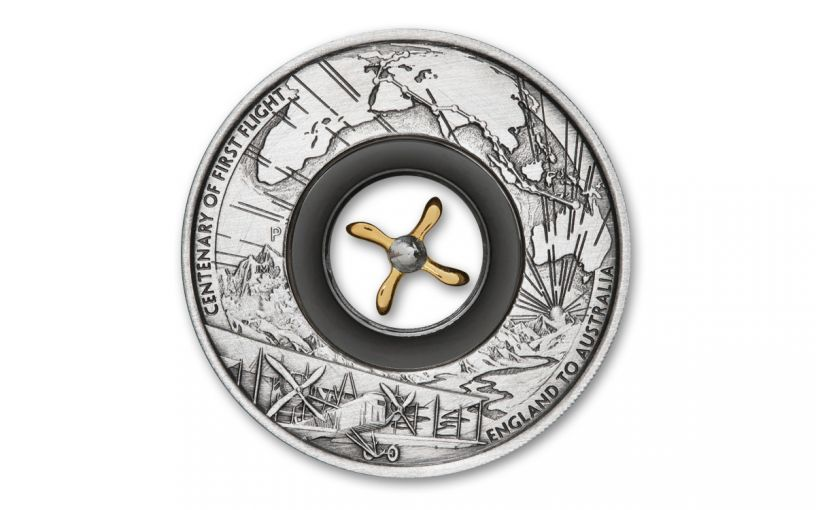 2019 Australia $2 2-oz Silver First England-to-Australia Flight Antiqued Coin