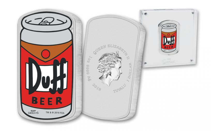 2019 Tuvalu $1 1-oz Silver The Simpsons Duff Beer Colorized Can-Shaped Coin Uncirculated