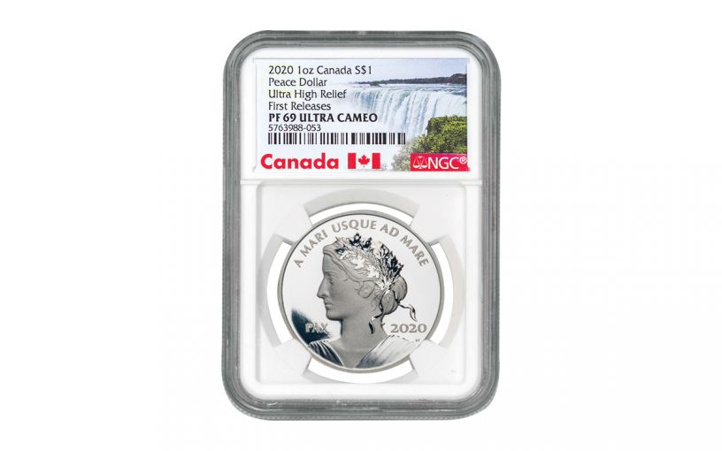 2020 Canada $1 1-oz Silver Peace Dollar NGC PF69UC First Releases w/Canada Label