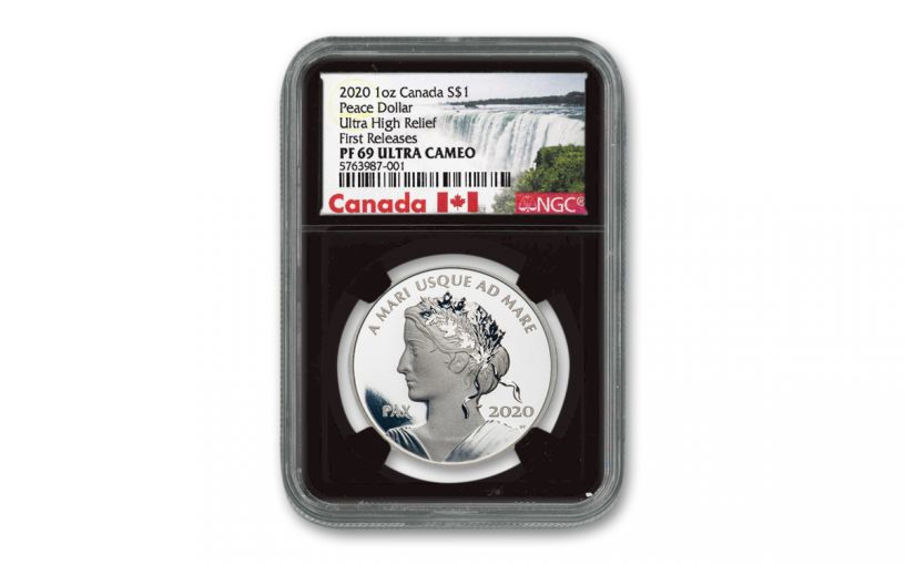 2020 Canada $1 1-oz Silver Peace Dollar NGC PF69UC First Releases w/Black Core & Canada Label
