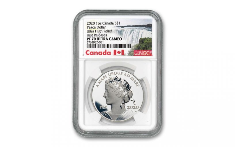 2020 Canada $1 1-oz Silver Peace Dollar NGC PF70UC First Releases w/Canada Label