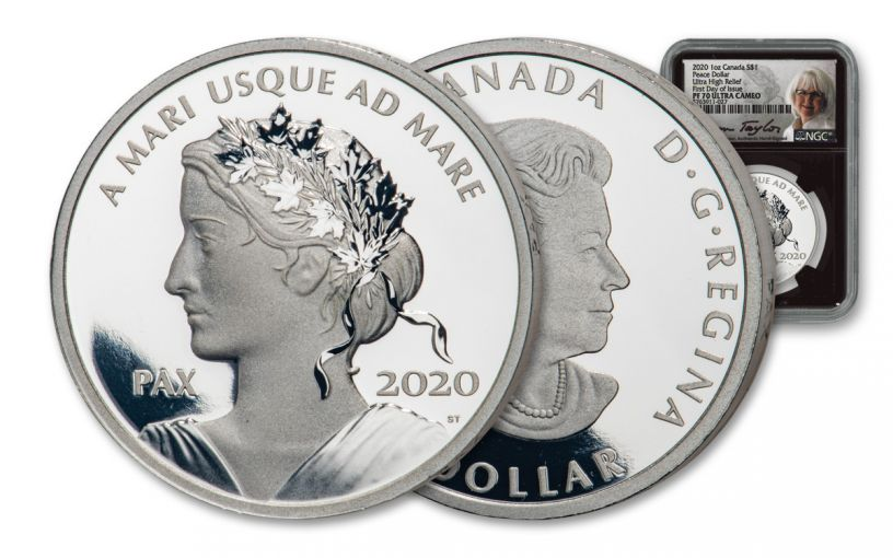2020 Canada $1 1-oz Silver Peace Dollar NGC PF70UC First Day of Issue w/Black Core & Taylor Signature