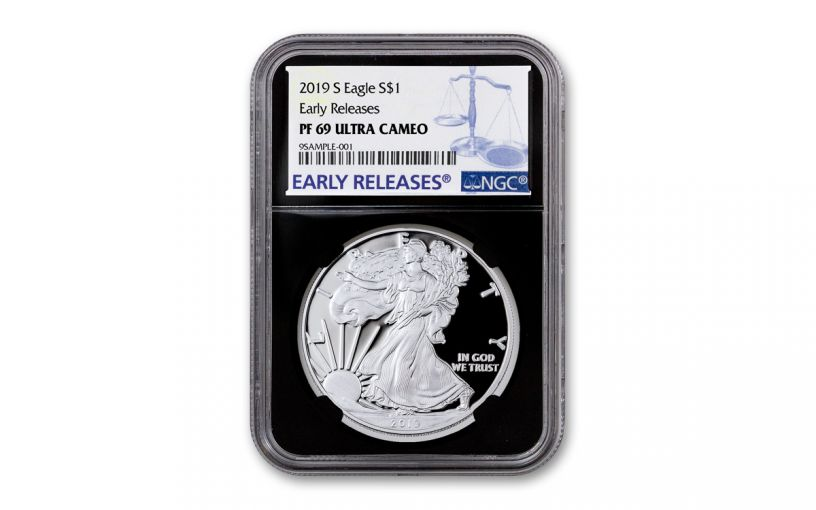 2019-S $1 Silver Eagle NGC PF69UC Early Releases w/Black Core