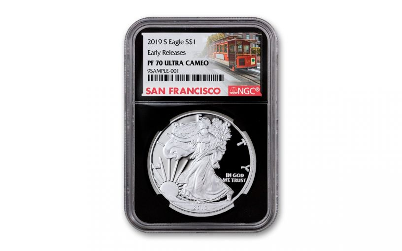 2019-S $1 Silver Eagle NGC PF70UC Early Releases w/Black Core & Cable Car Label