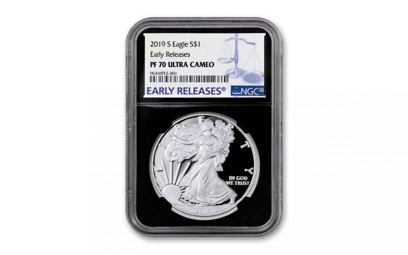2019-S $1 Silver Eagle NGC PF70UC Early Releases w/Black Core