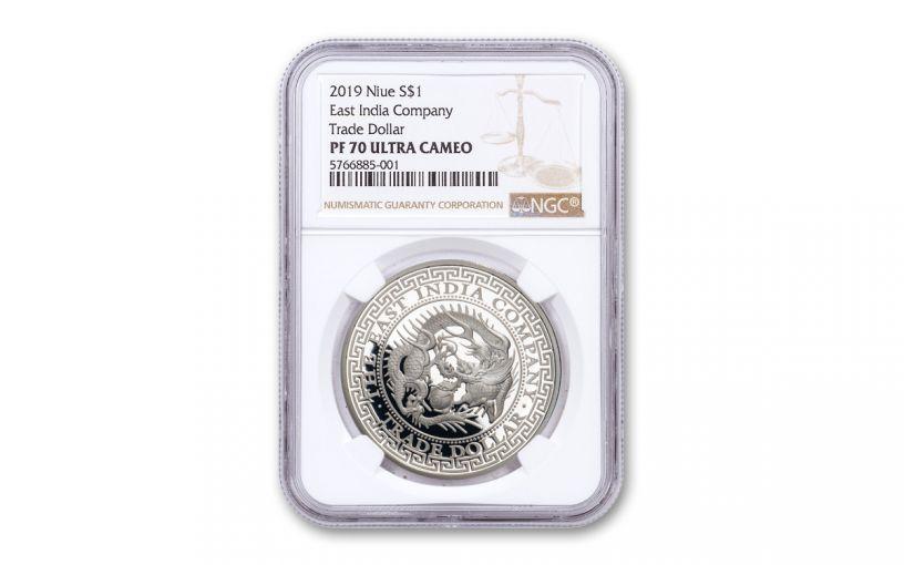 2019 Niue 1-oz Silver Japanese Trade Dollar Proof NGC PF70UC