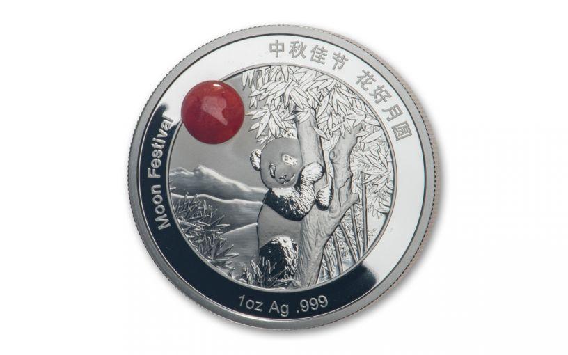 2019 CHINA 1OZ SILVER MOON PANDA RED JADE PROOF