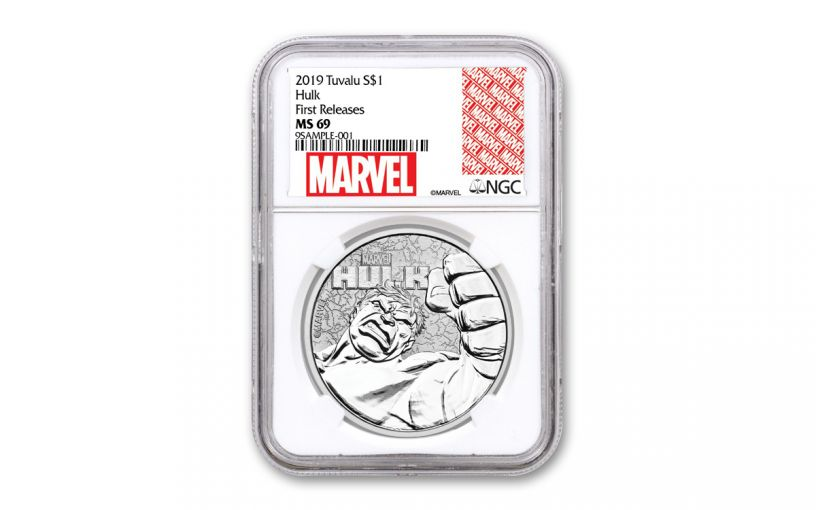 2019 Tuvalu $1 1-oz Silver Incredible Hulk NGC MS69 First Releases w/Marvel Label