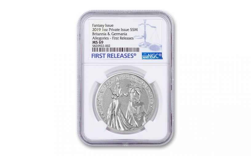 2019 1-oz Silver Allegories — Britannia & Germania NGC MS69 First Releases