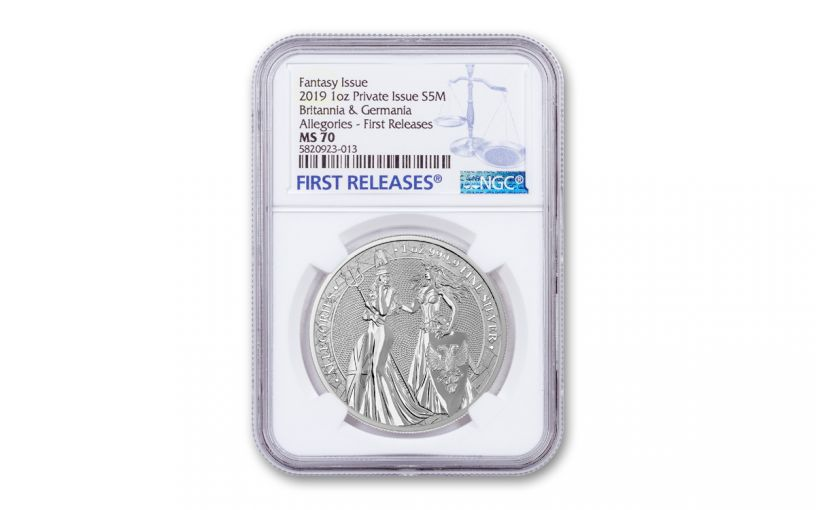 2019 1-oz Silver Allegories — Britannia & Germania NGC MS70 First Releases
