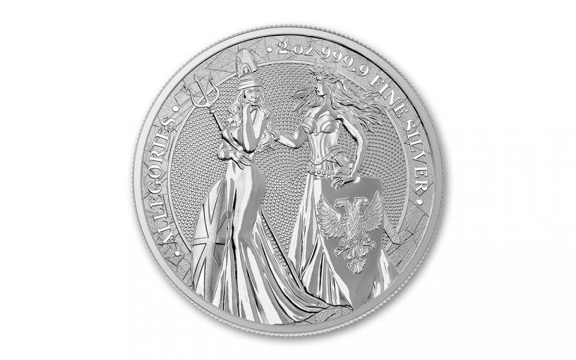 2019 2-oz Silver Allegories — Britannia & Germania Gem BU