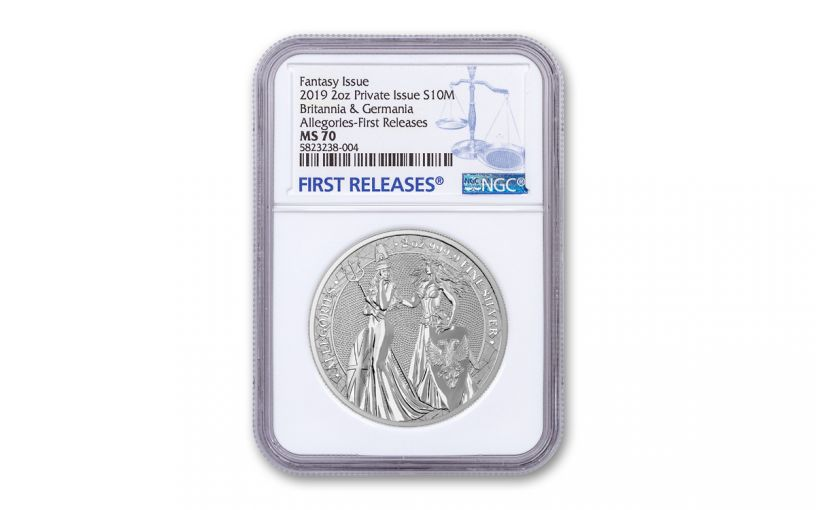 2019 2-oz Silver Allegories — Britannia & Germania NGC MS70 First Releases