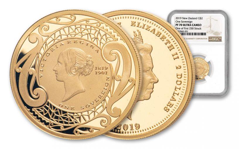 2019 New Zealand $2 Gold Sovereign NGC PF70UC First Struck