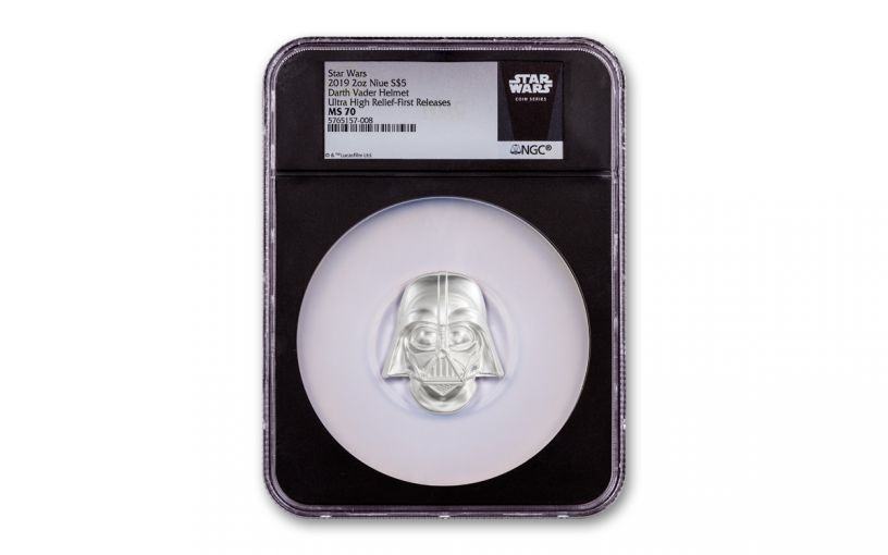 2019 Niue $20 2-oz Silver Darth Vader Helmet Coin NGC MS70 First Releases w/Black Core