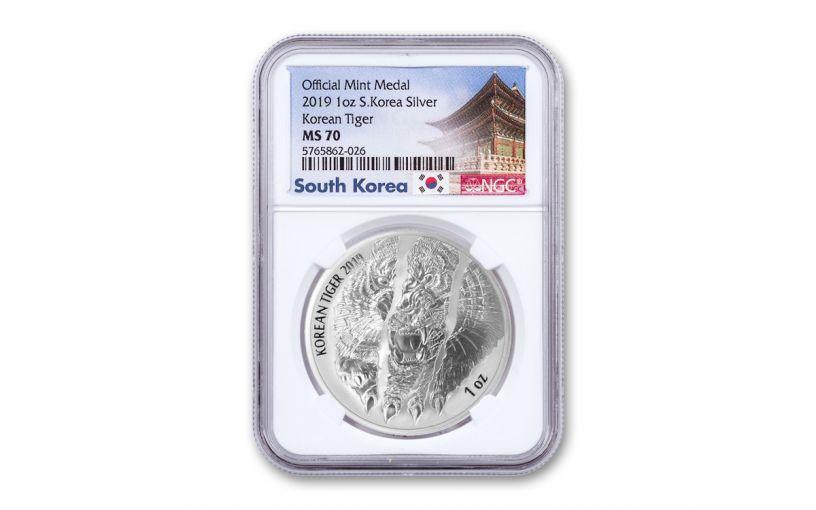 2019 South Korea 1-oz Silver Tiger Medal NGC MS70 w/South Korea Label