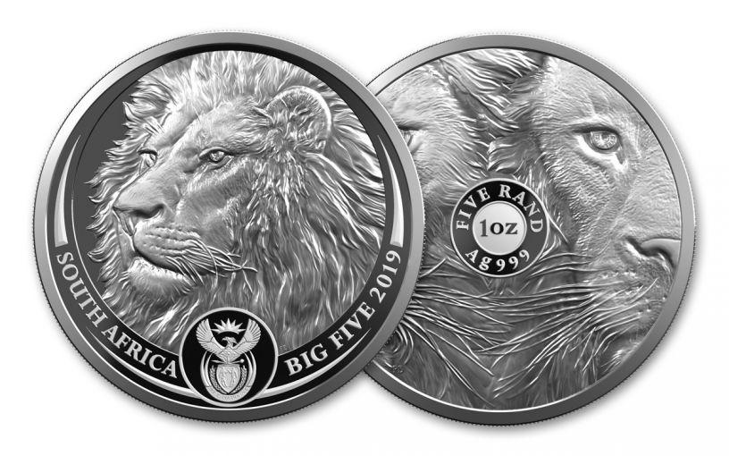 SA 2019 5 RAND 1OZ SILVER BIG 5 LION PROOF