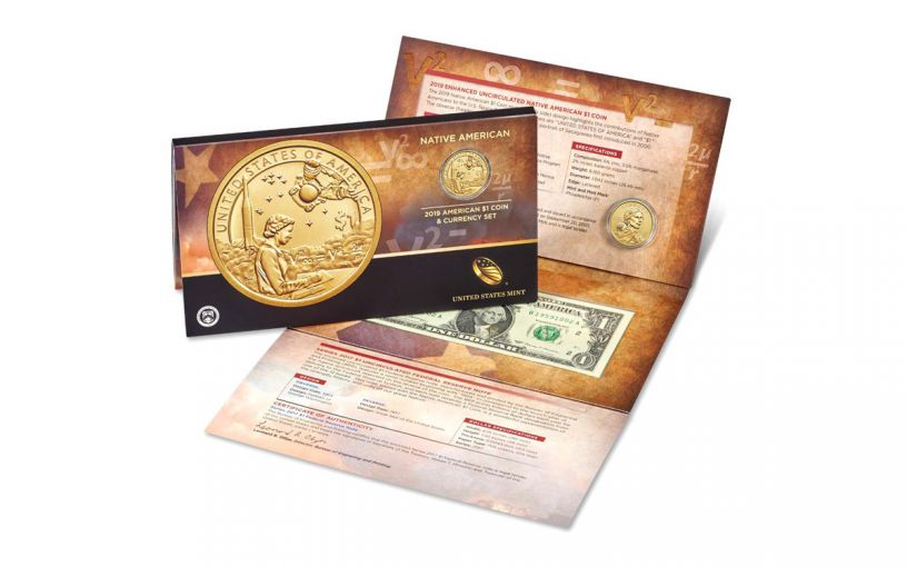 2019 $1 Native American Coin & Currency 2-pc Set