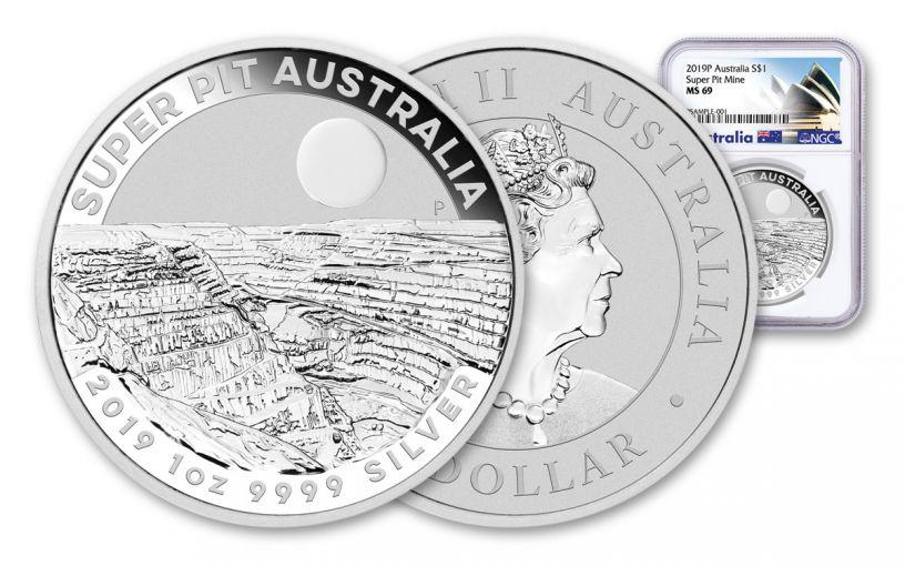 2019 Australia $1 1-oz Silver Super Pit Coin NGC MS69 w/Opera House Label