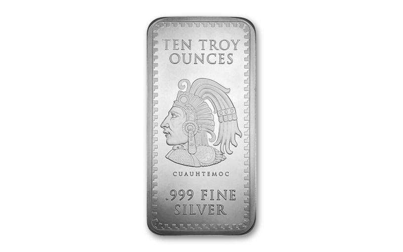 2019 Golden State Mint 10-oz Silver Aztec Calendar Bar BU