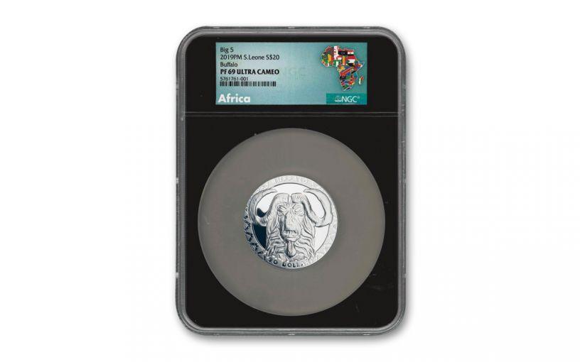 2019 $20 2-oz Silver Sierra Leone Big 5 Buffalo High Relief Proof NGC PF69UC - Black Core