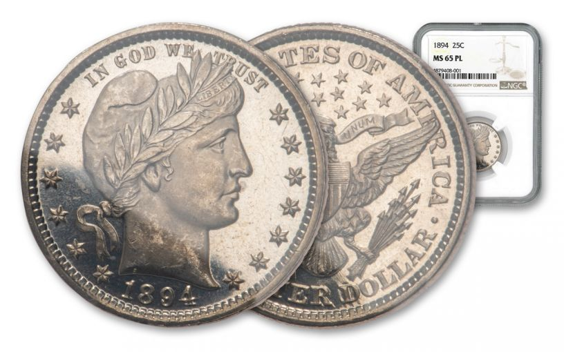 1894-P 25 CENTS BARBER NGC MS65 PL