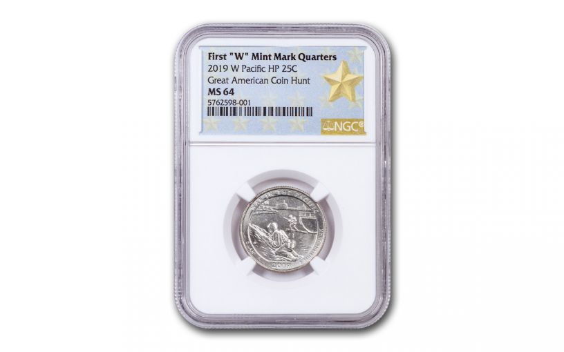2019-W 25¢ America the Beautiful War in the Pacific National Historical Park Quarter NGC MS64 w/Gold Star Label