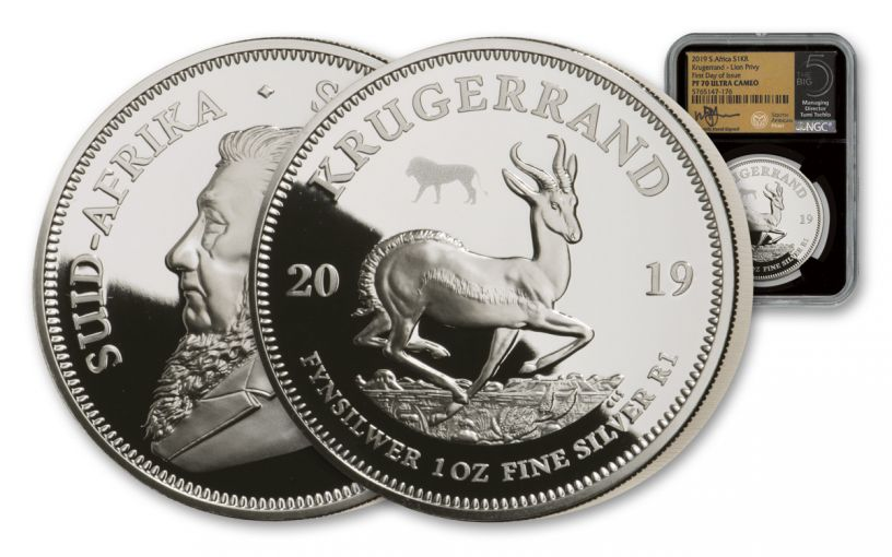 2019 South Africa 1-oz Silver Big 5 Privy Mark Krugerrand Proof NGC PF70UC First Day of Issue w/Tumi Signature